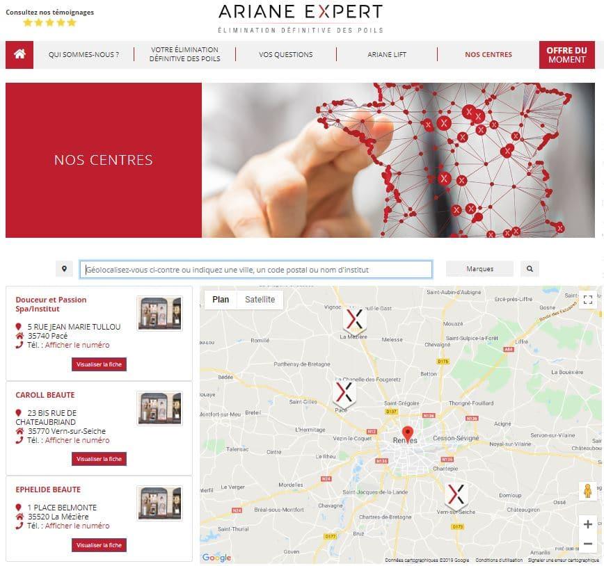 page de résultat Ariane Expert